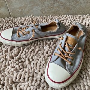 Comfy Gray Converse sneakers with leather laces